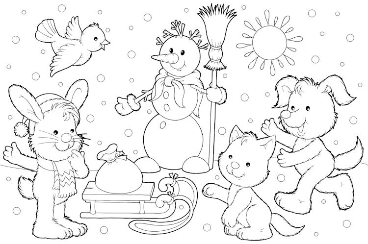 Kleurplaten Voor De Winter.Kleurplaat Winter Kerst