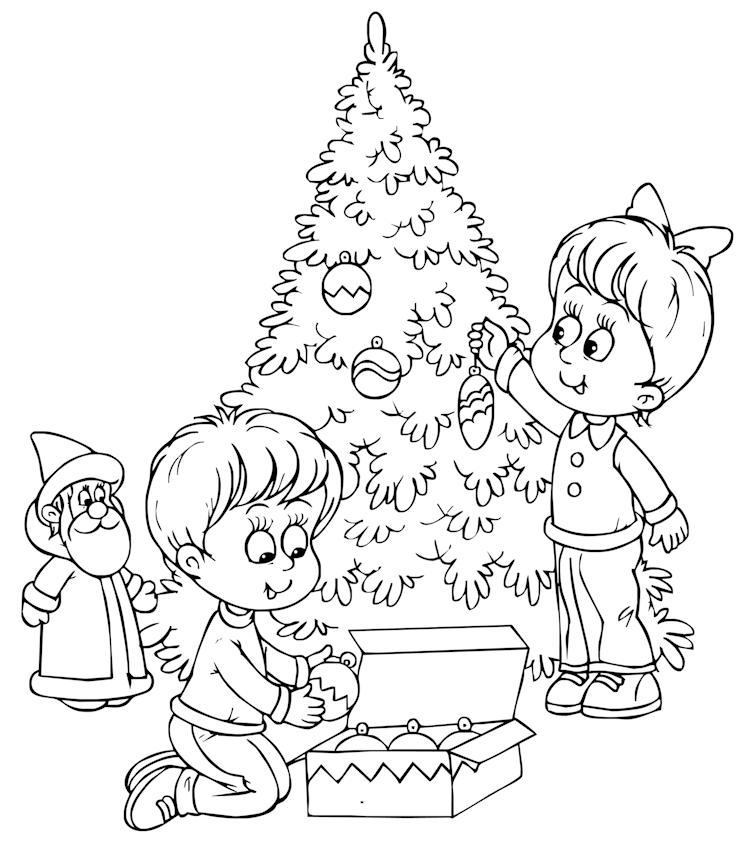 Kleurplaten Kerstboom Versieren.Kerstfun Voor Kinderen Kerst Kleurplaten